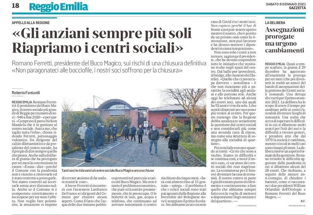 """Reggio Emilia: """"Gli anziani sempre più soli, riapriamo i centri sociali"""""""